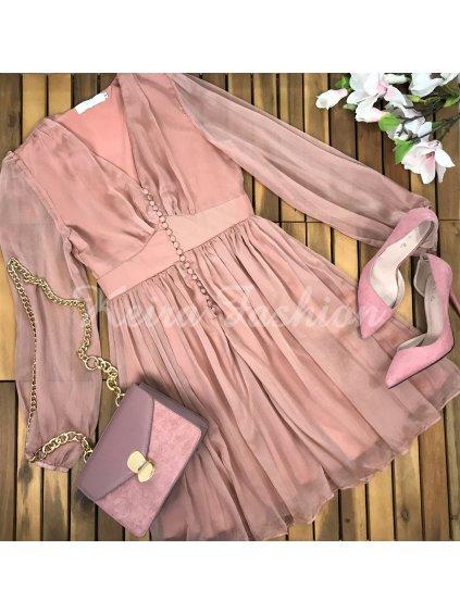 šaty v staroružovej farbe