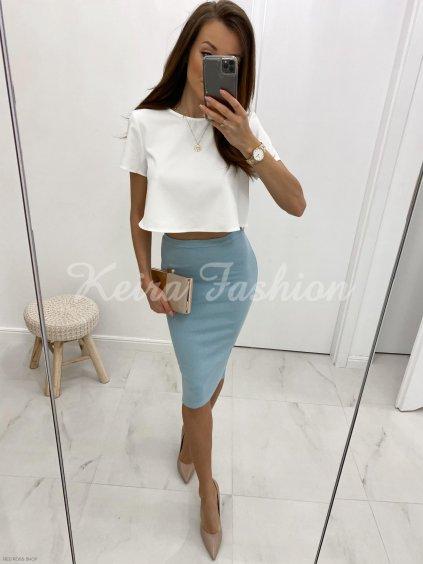 vrúbkovaná modrá sukňa