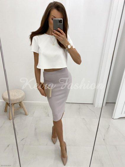 Fialová vrúbkovaná sukňa