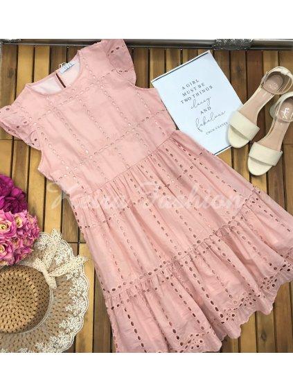 ružové perforované šaty