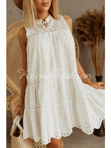 madiera biele perforované šaty bez rukávov