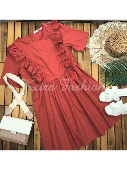 bavlnené šaty s volánmi