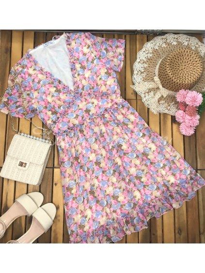 kvetinové romantické šaty s krátkym rukávom