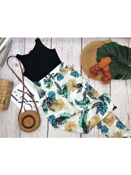 nohavice s letným vzorom tropické