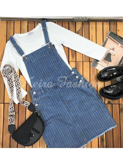 pásikavá riflová sukňa na traky