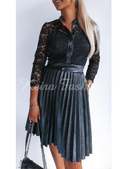 čipkované šaty s plisovanou koženkovou sukňou