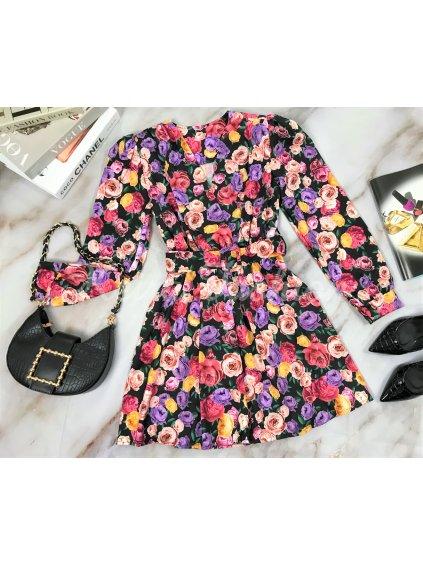 kvetinové šaty s opaskom