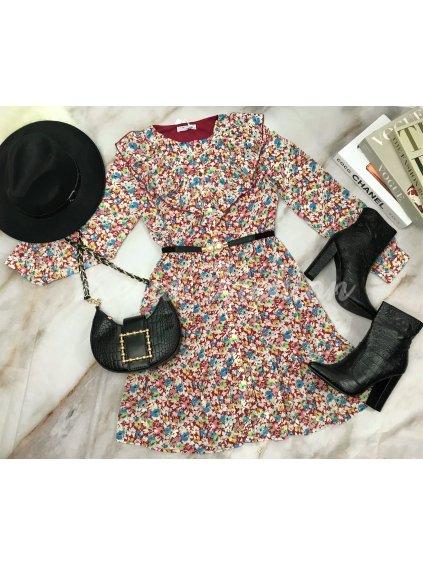 bordové kvetované šaty