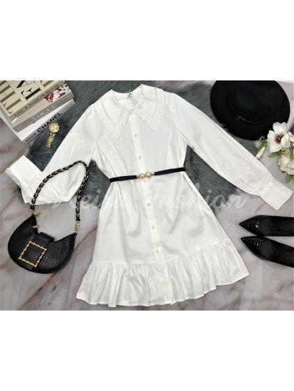 biele šaty s golierom