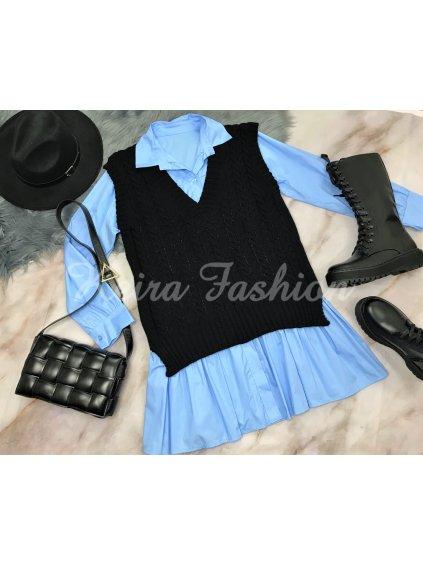 čierna pletená vesta