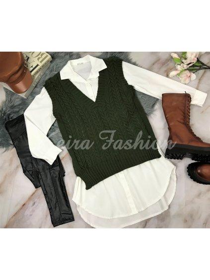 zelená pletená vesta