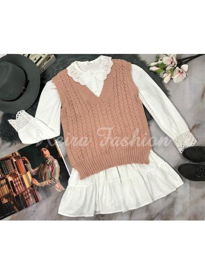 ružová pletená vesta
