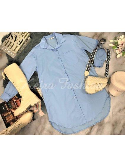 modrá maxi košeľa