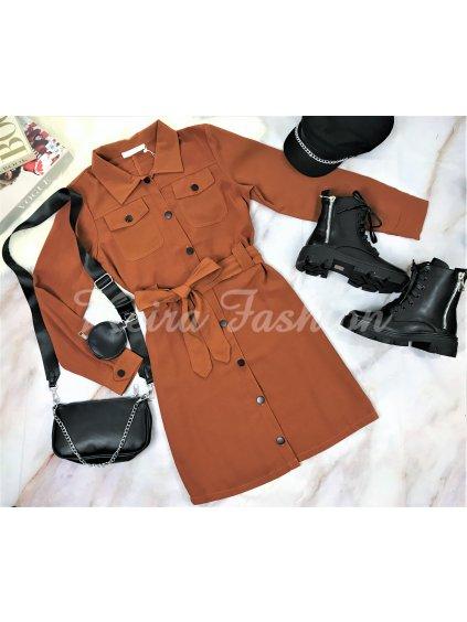 šaty na gombíky s dlhým rukávom