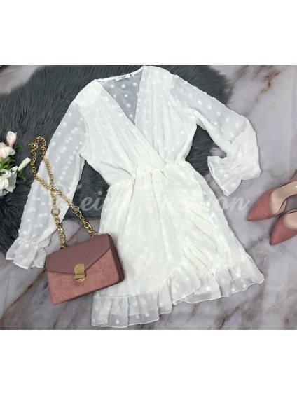 biele bodkované šaty