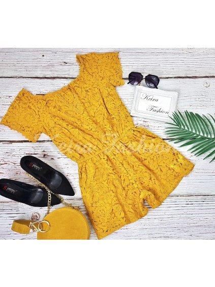 žltý čipkovaný overal
