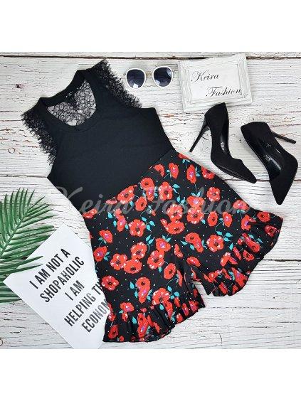 kvetované šortky s vysokým pásom