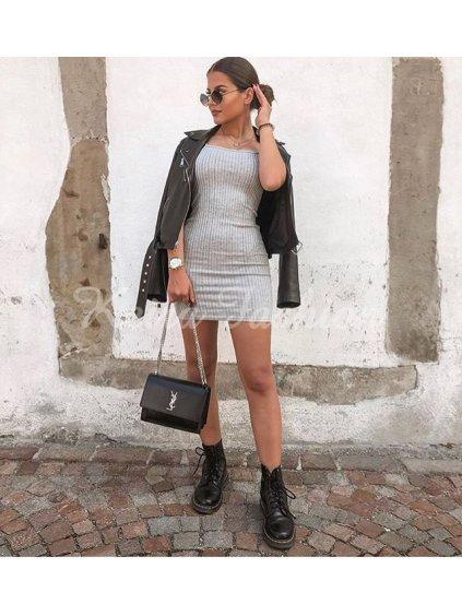 sivé šaty na ramienka