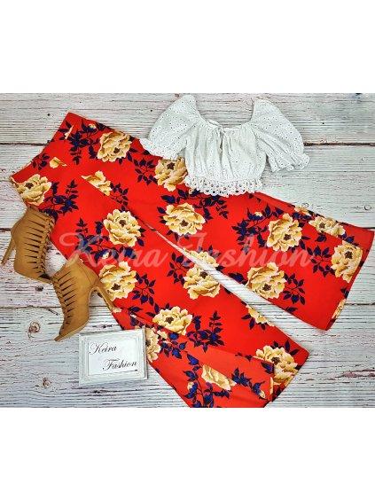 letné trapézové nohavice s kvetmi