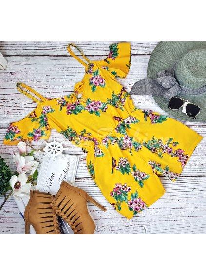 žltý kvetovaný overal letný