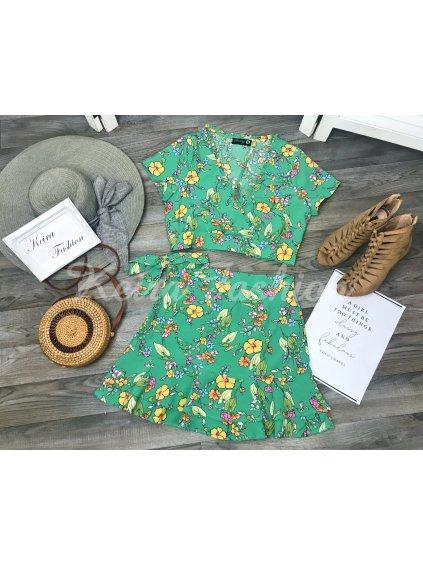 zelená kvetovaná súprava - top a sukňa