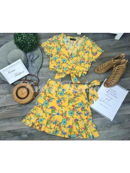 žltá kvetinová súprava - blúzka + sukňa