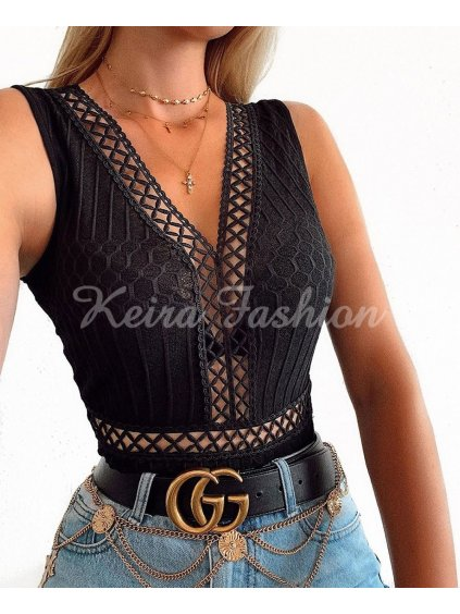 crochet lace trim mesh back sleeveless bodysuit p7277 372588 image