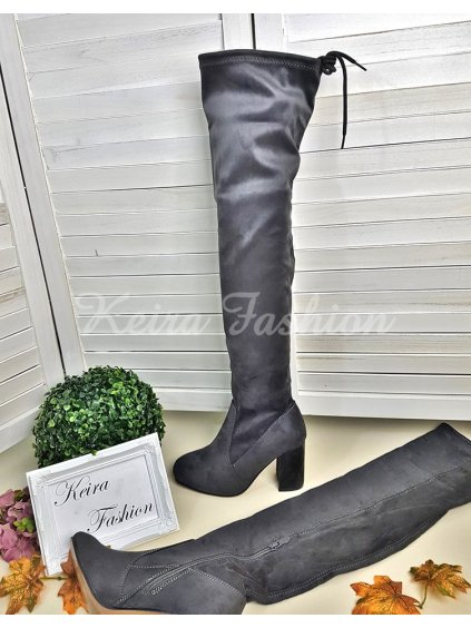 Sivé čižmy nad kolená - semišové