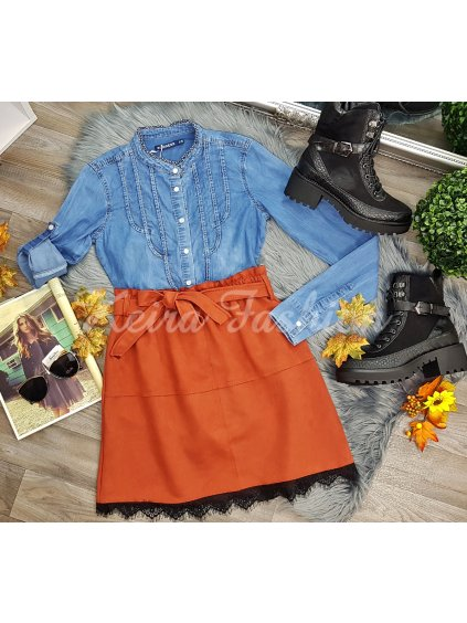 velúrová sukňa s čipkou