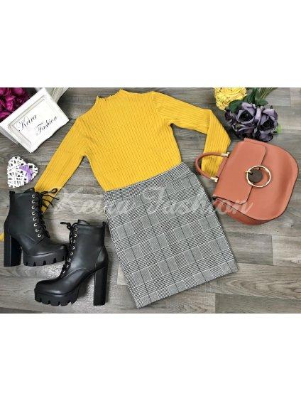 kockovaná mini sukňa