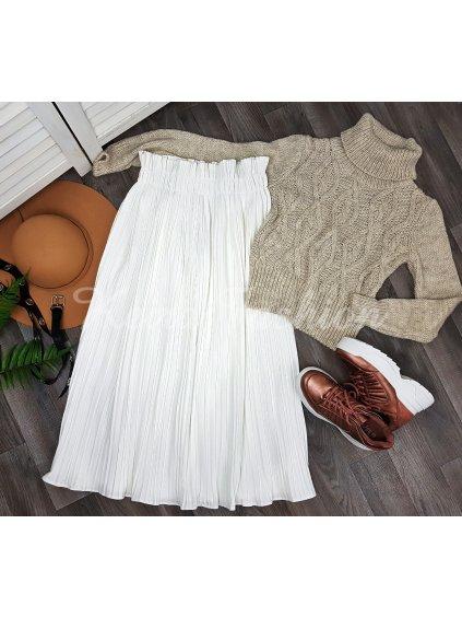biela plisovaná midi sukňa