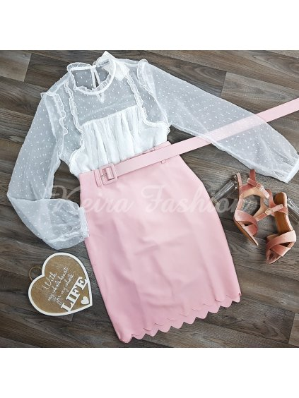 ružová sukňa s opaskom