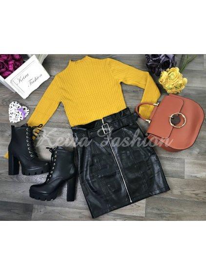 žltý úpletový pulóver
