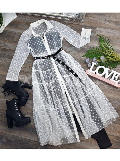 transparentné biele šaty