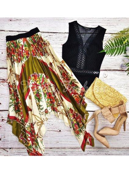 asymetrická saténová sukňa