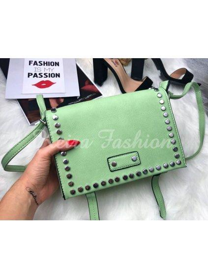 vybíjaná kabelka zelená s cvokmi