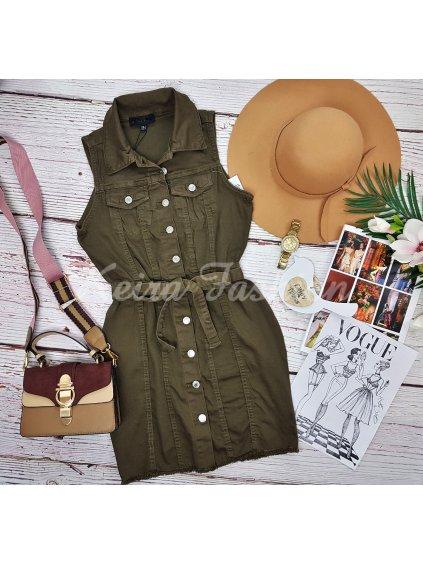 khaki zelené riflové šaty