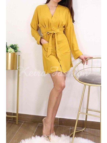horčicovo žlté šaty s dlhým rukávom