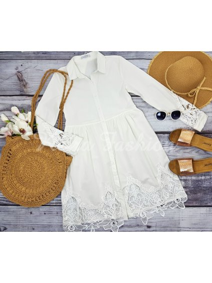 biele košeľové šaty s krajkou
