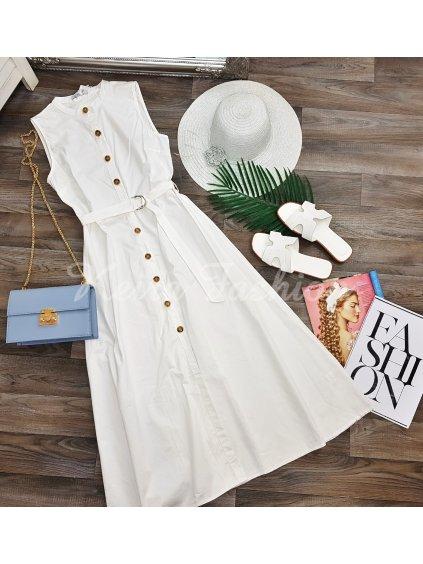 biele midi šaty