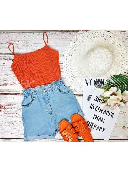 oranžový plisovaný top na ramienka