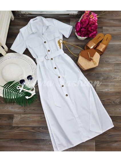 biele midi šaty na leto