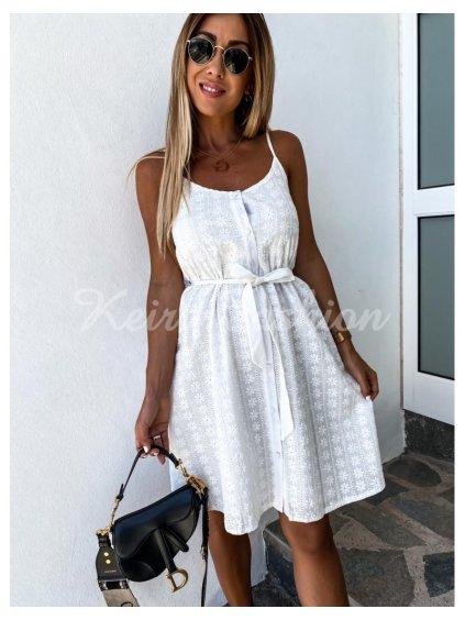 biele perforované šaty