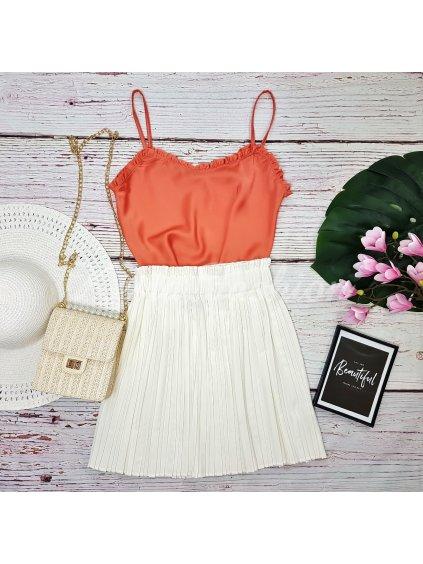 biela krátka plisovaná sukňa
