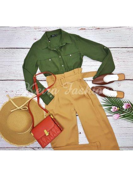 košeľa v khaki zelenej farbe olivova
