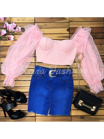 elastická riflová sukňa s opaskom