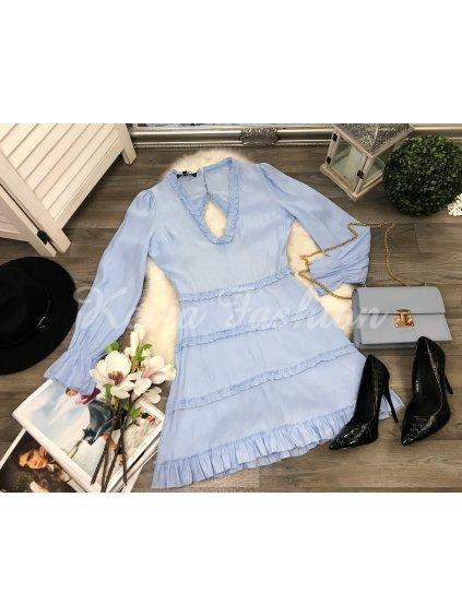 dámske modré šaty s volánom