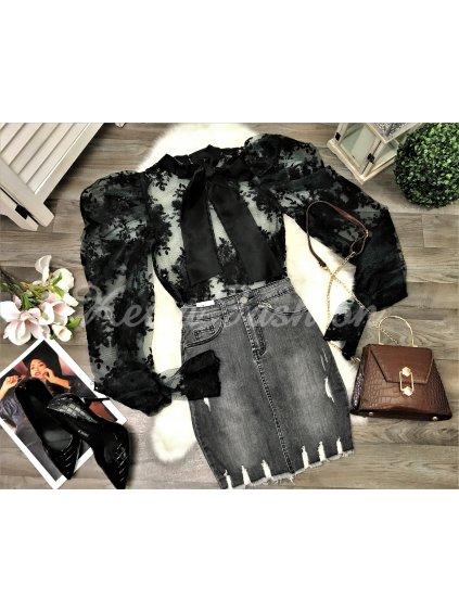 tmavosivá riflová sukňa