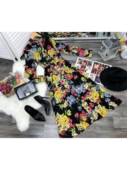 čierne kvetované midi šaty