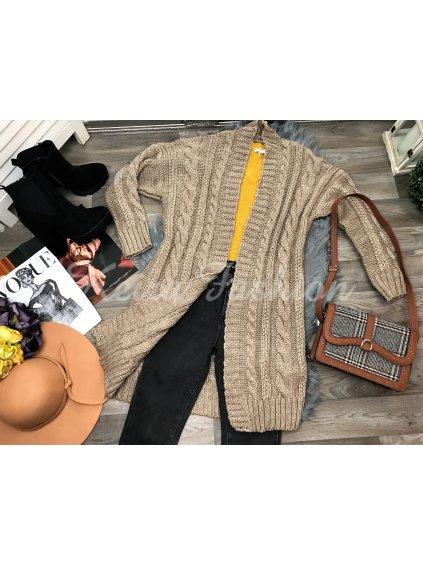hnedý pletený sveter hrubý